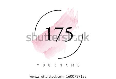 number 175 watercolor stroke