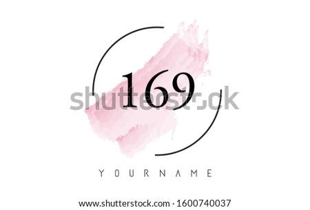 number 169 watercolor stroke