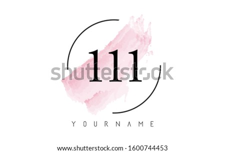 number 111 watercolor stroke