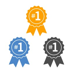 Number #1 winner ribbon award badge flat vector icon for apps and websites