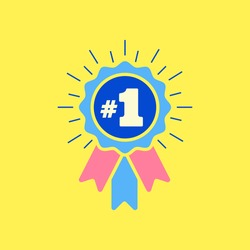 Number #1 winner ribbon award badge. Icon number one, first, champion, winner, leader. Vector illustration for apps and websites, sport competition honor, achievement leadership, victory, 1st success.