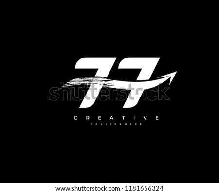 number 77 with artistic bold