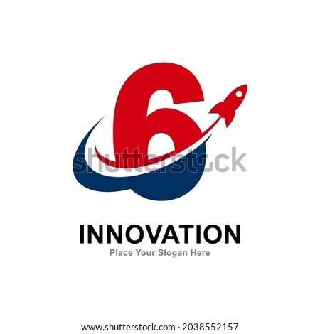 number 6 with rocket logo