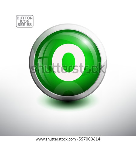 number zero in 3d glossy green