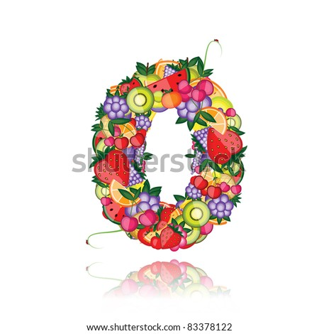 Number zero made from fruits. See others in my gallery - stock vector