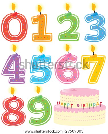 Numbered Birthday Candles and Cake Isolated - stock vector