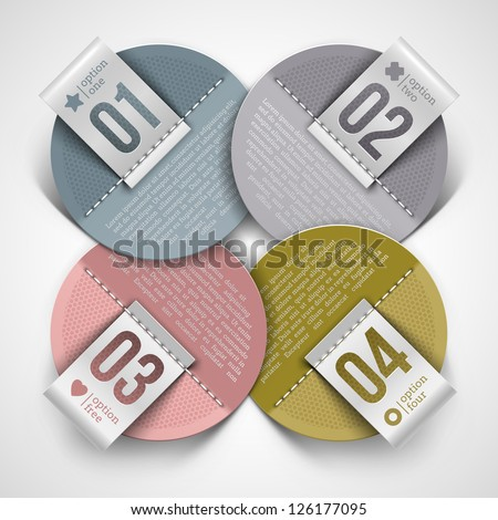 Numbered infographics round paper labels - vector illustration
