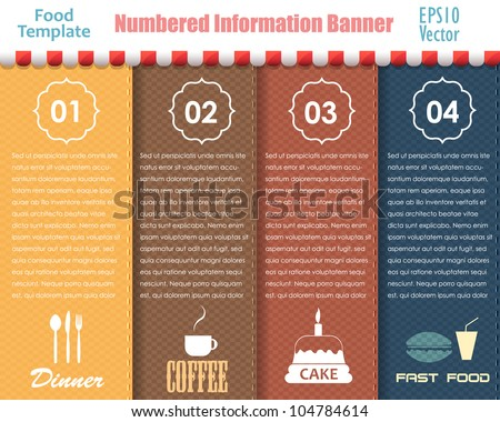 numbered information food...