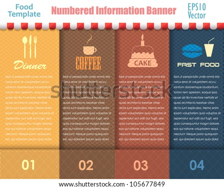 Numbered Information Food Template Banner Vintage Pattern Vector Design