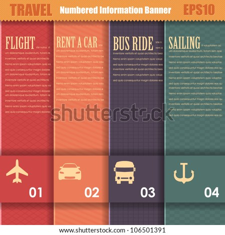 Numbered Information Travel Template Banner Vintage Pattern Vector Design