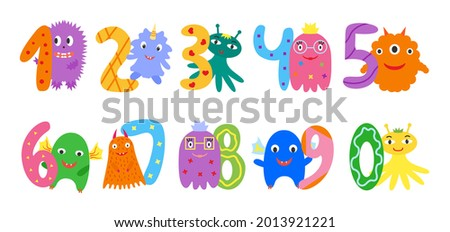 numbers and funny cute monsters