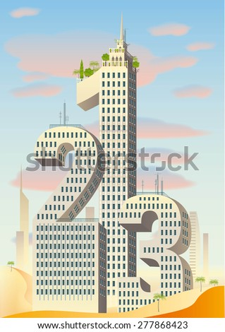 numbers as skyscrapers  with