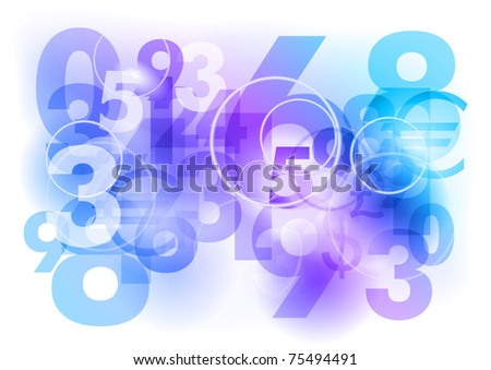 numbers background as blue abstract
