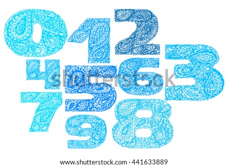 c671c12c Numbers decorative set with a paisley zen doodle tattoo ornaments filling.  Display numeric. Hand