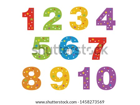 numbers for children, from 1 to 10. Kids learning material. Card for learning numbers. Number 1-10. colored numbers in white dots and stars