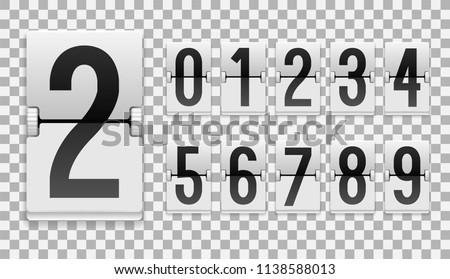 Numbers from White Mechanical Scoreboard; Flip countdown clock counter; Black digit on white board with transparent shadow; Mechanical Scoreboard for web page upcoming event template design