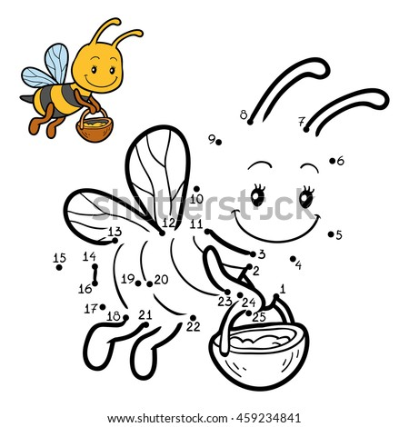 Numbers game, dot to dot education game for children about bees