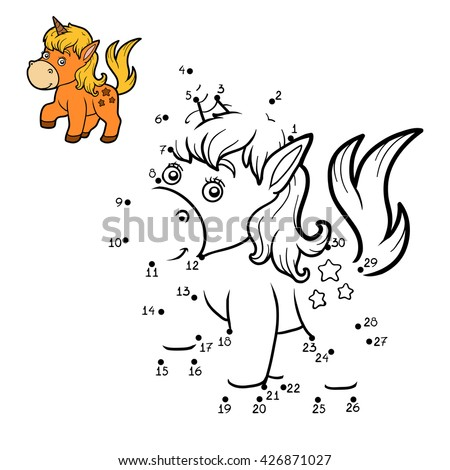 Numbers game, dot to dot education game for children. Little unicorn