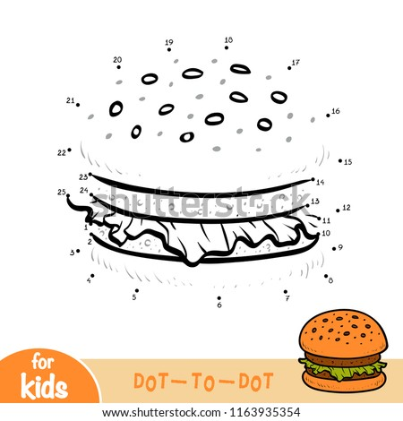 Numbers game, education dot to dot game for children, Burger