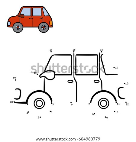 Numbers game, education dot to dot game for children, Car