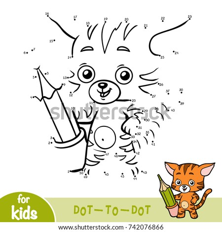 Numbers game, education dot to dot game for children, Cat