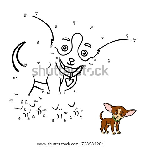 Numbers game, education dot to dot game for children, Dog breeds: Chihuahua