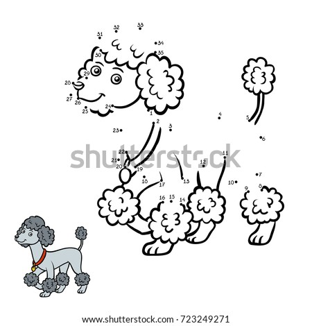 Numbers game, education dot to dot game for children, Dog breeds: Poodle