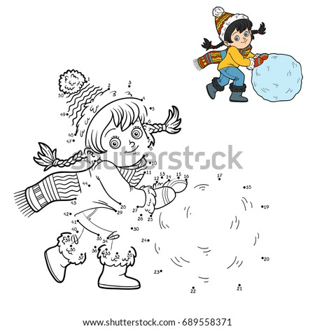 Numbers game, education dot to dot game for children, Girl and a ball of snow