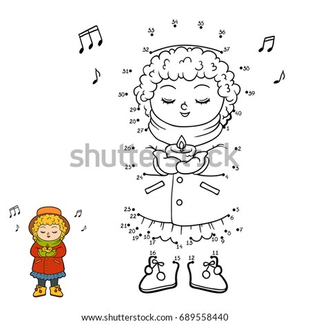 Numbers game, education dot to dot game for children, Girl singing a Christmas song