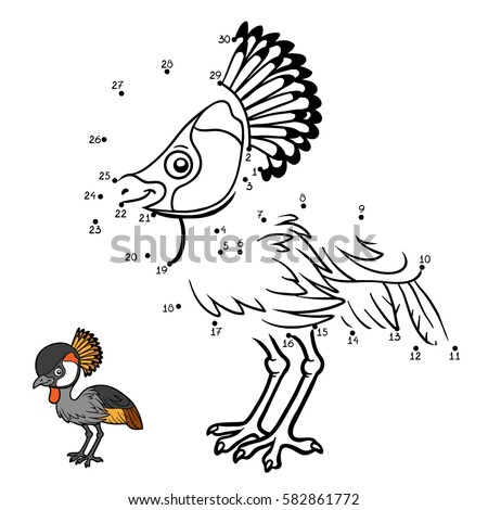 Numbers game, education dot to dot game for children, Grey crowned crane