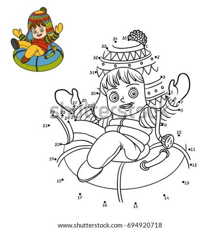 Numbers game, education dot to dot game for children, Happy girl riding on the tubing, inflatable sled
