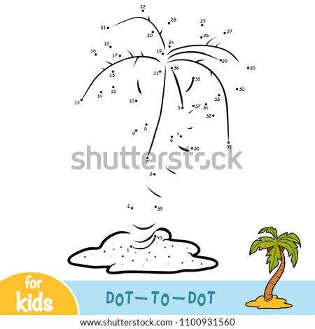 Numbers game, education dot to dot game for children, Palm on beach