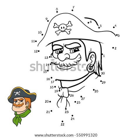 Numbers game, education dot to dot game for children, Pirate
