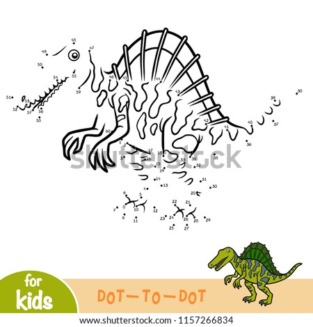 Numbers game, education dot to dot game for children, Spinosaurus