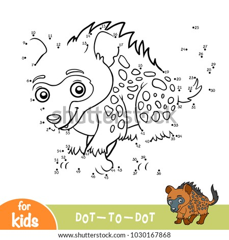 Numbers game, education dot to dot game for children, Spotted hyena