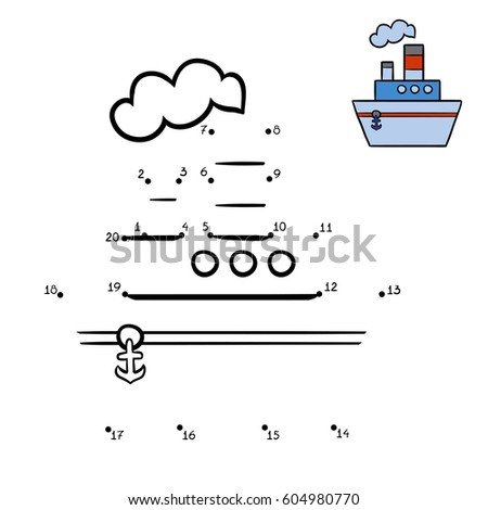 Numbers game, education dot to dot game for children, Steamship