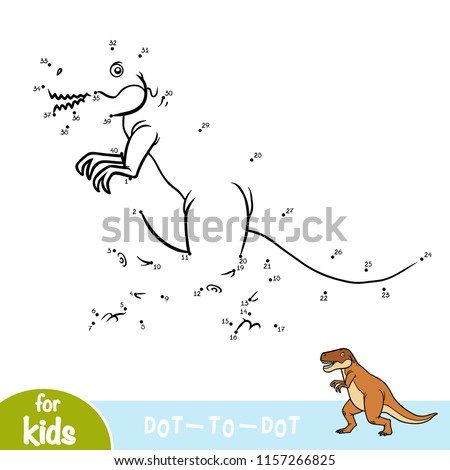 Numbers game, education dot to dot game for children, Tyrannosaurus