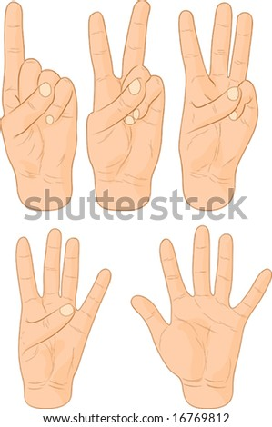 Numbers hand signs. Vector illustration.