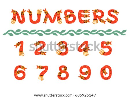 numbers in the form of cute a
