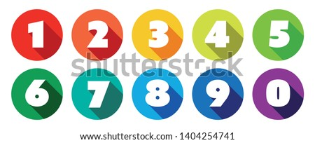 Numbers/ long shadow on multicolored circles