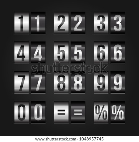 Numbers mechanical timetable style, scoreboard, information board, display numbers. Vector illustration.