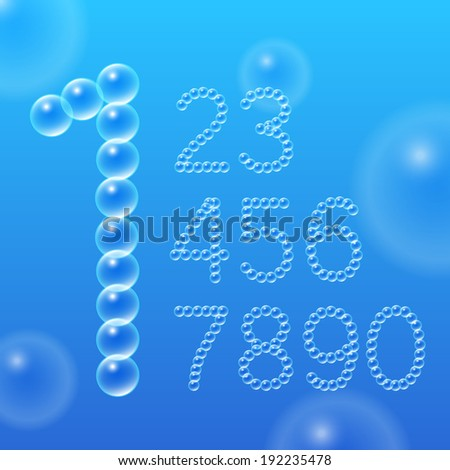 numbers 0 9 of air bubbles