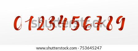 Numbers red font, ribbon style, typography vector illustration.