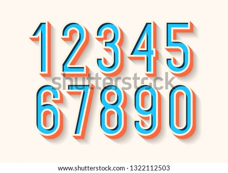 numbers set color 3d bold style