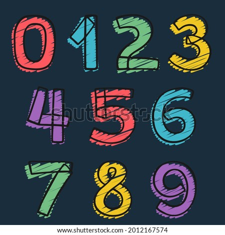 numbers set hand drawn with