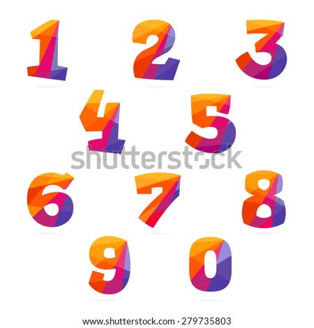 Numbers set in trendy polygonal crystal style vector for Blueprint number