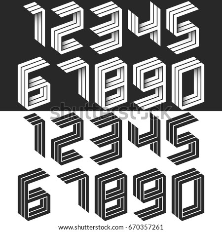 Numbers set isometric geometric shape, black and white creative idea hipster monogram digits form in perspective. Collection figures wedding cards. Mathematical symbols 1, 2, 3, 4, 5, 6, 7, 8, 9, 0.