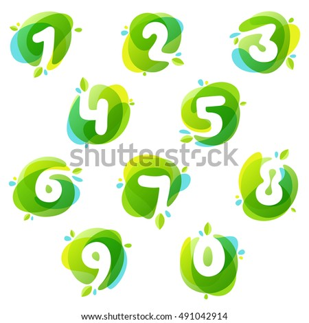 numbers set logos at green