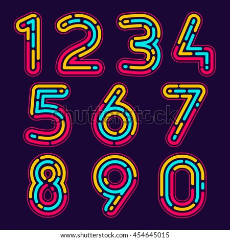 numbers set logos formed by