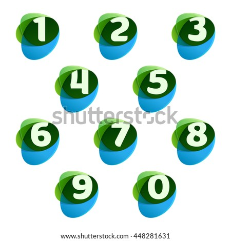 numbers set logos in green